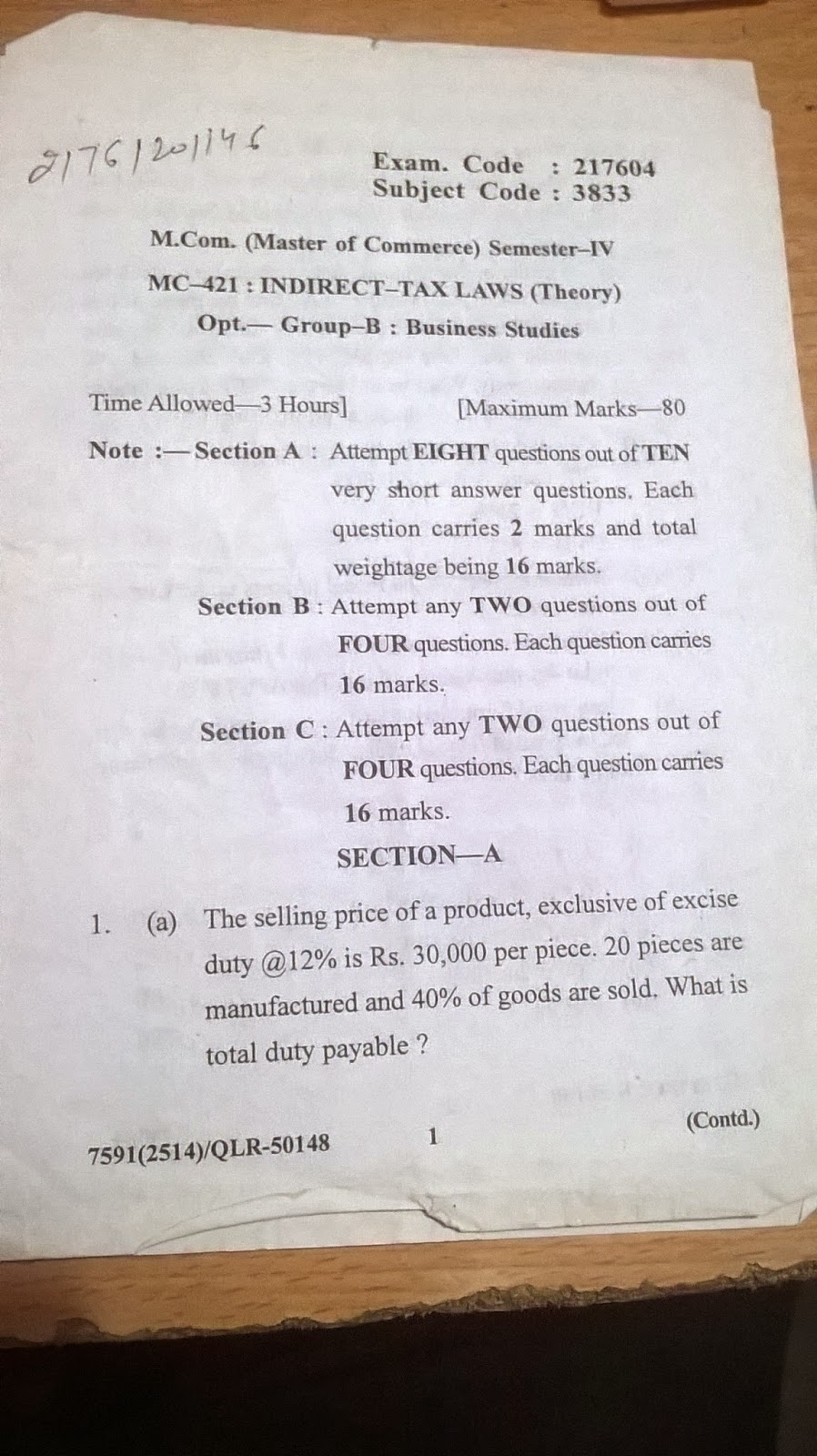 Mcom 4th sem Indirect tax Question Paper of GNDU