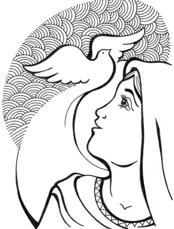 Colección de Gifs ®: VIRGEN MARÍA Y EL ESPÍRITU SANTO PARA COLOREAR