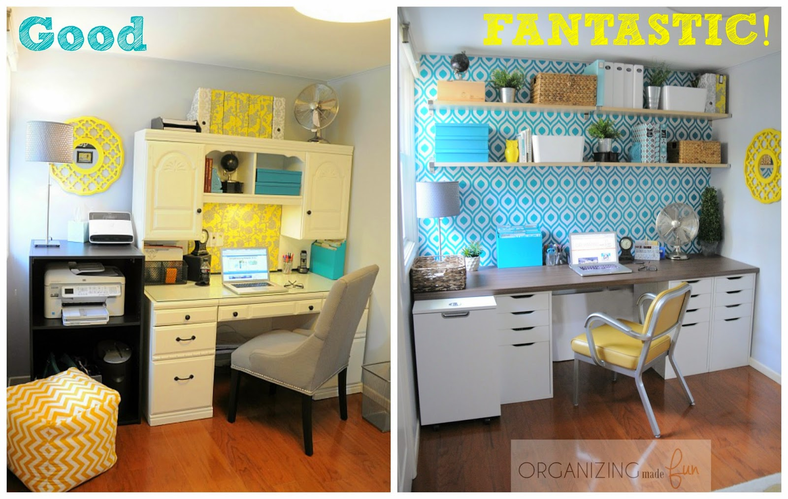 Home office goes from good - to FABULOUS :: OrganizingMadeFun.com