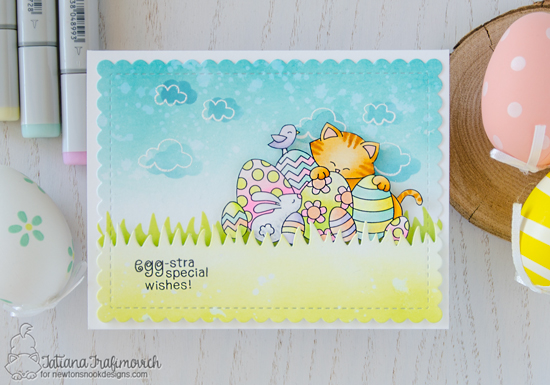 Easter Cat Card by Tatiana Trafimovich | Newton's Easter Basket Stamp Set by Newton's Nook Designs #newtonsnook #handmade