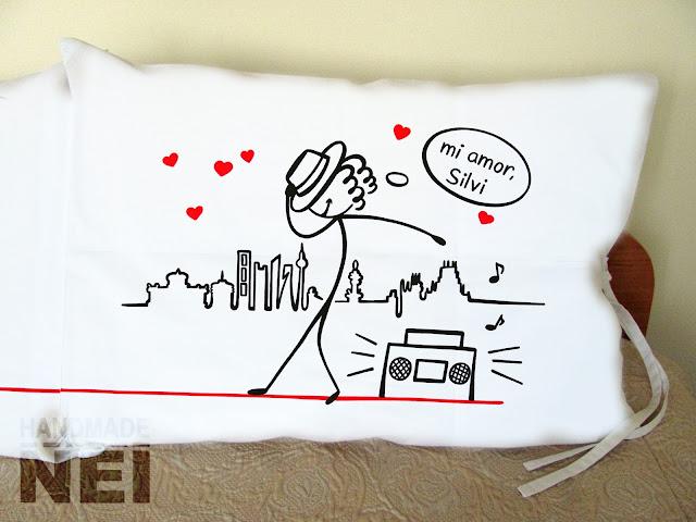 """Handmade Nel: Калъфки за възглавници за влюбени """"Ми Амор"""""""