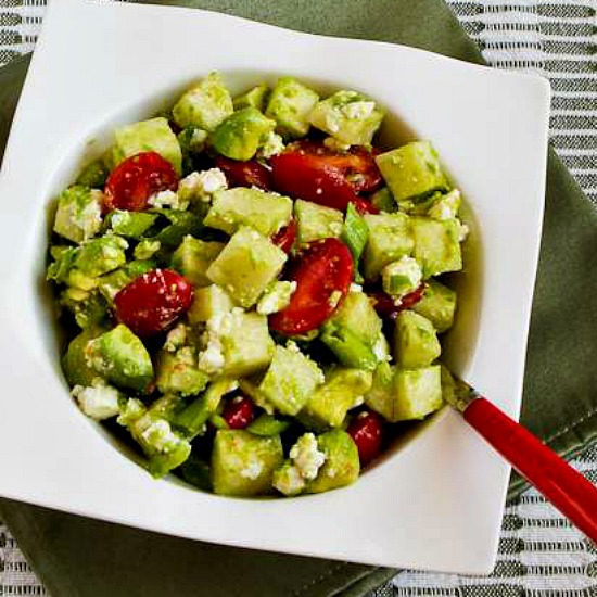 Cross-Cultural Salad with Tomato, Avocado, Jicama, Lime, and Feta found on KalynsKitchen.com