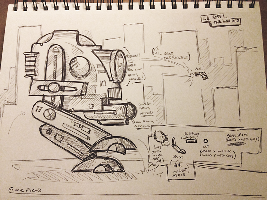 My sketch for The Walker. As you can see, there's a little information on how I realistically intend to break this up and make it work. Hopefully, my coding skills at this stage are up to it.
