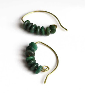 Green Stone Half Hoop Earrings