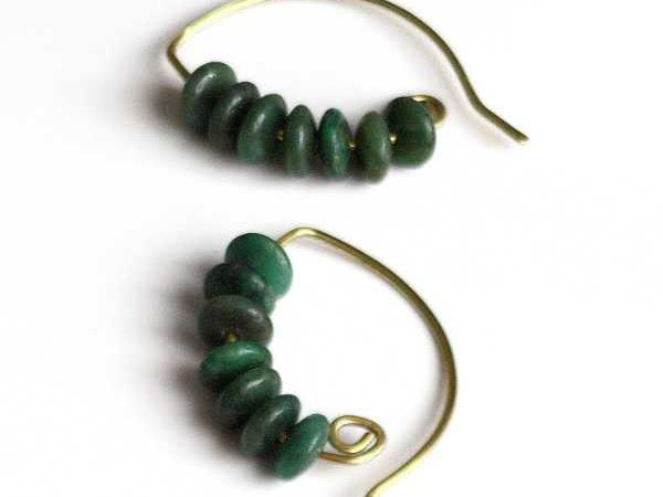 Green Stone Half Hoop Earrings