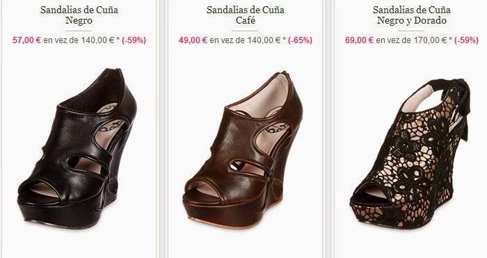 Sandalias de cuña en negro