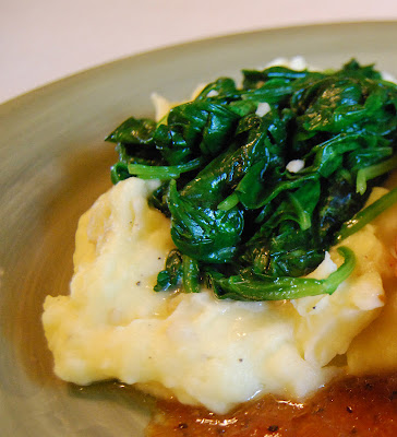 Sauteed Garlic Spinach on Mashed Potatoes | by Life Tastes Good #Sides #Vegetables #Potatoes