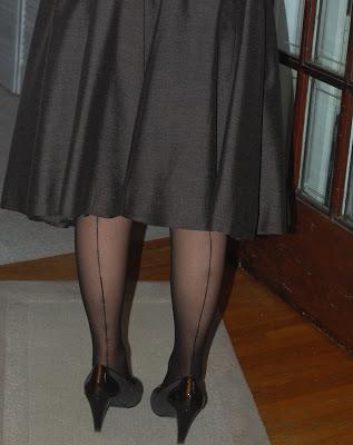 Granny in seamed stockings
