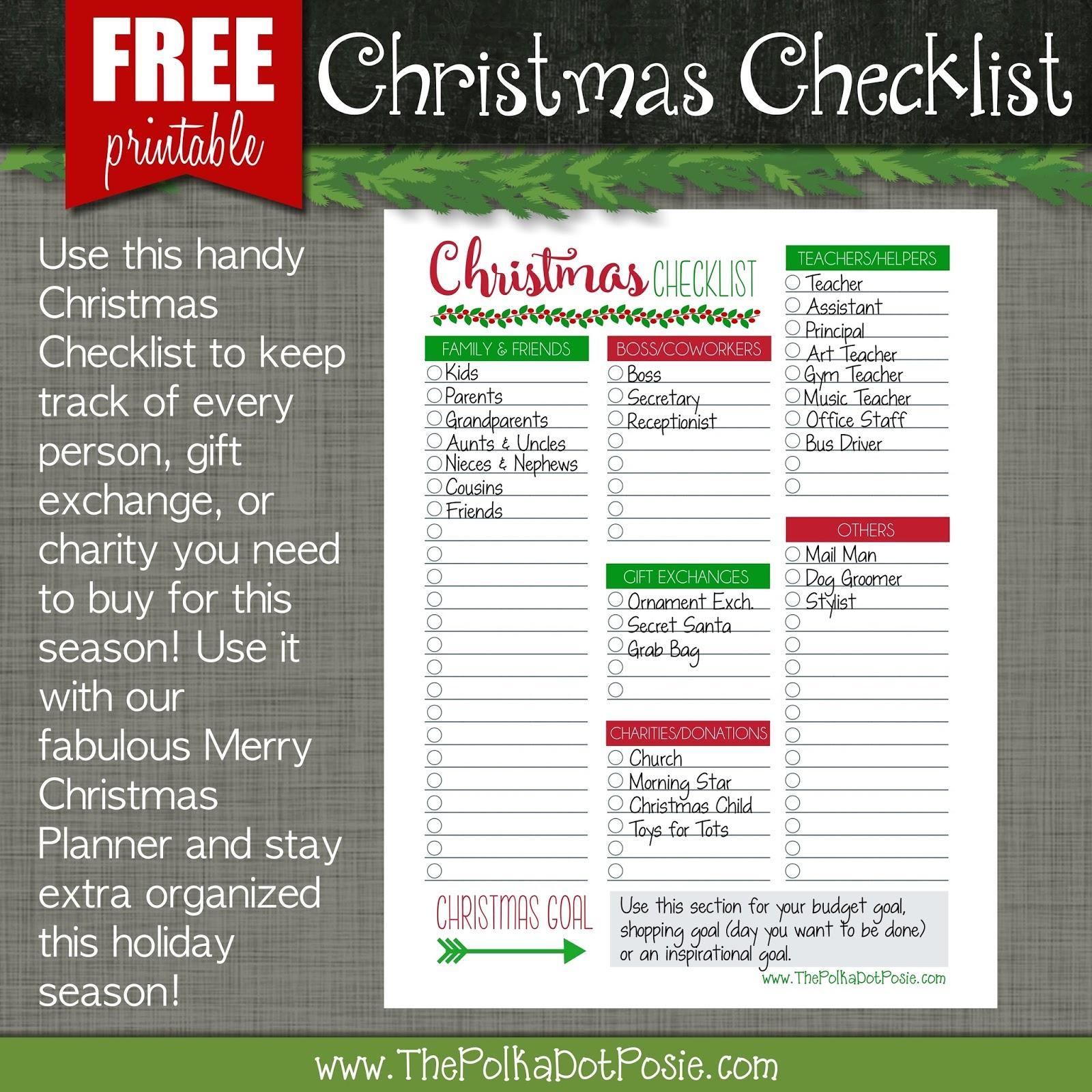The Polka Dot Posie Free Christmas Checklist Printable