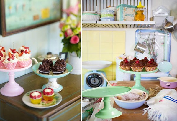 Perfect pastel kitchenware and glass cake stands from Leilas general store