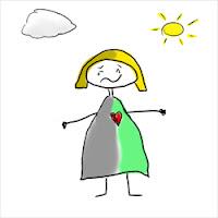 Disegno di una donna felice con il bel tempo e triste con il brutto tempo (by sciencemug)