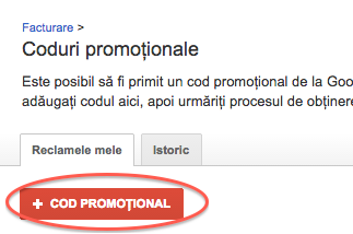adauga codul promotional 1