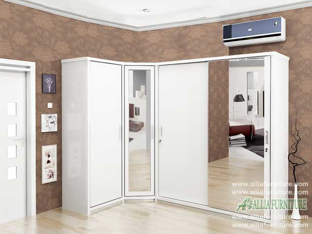 lemari pakaian sudut minimalis model hugo