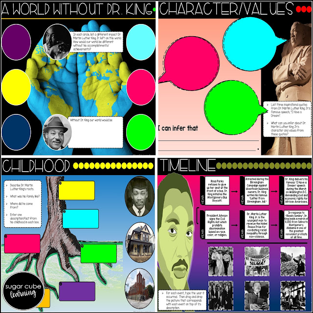 collage of digital Martin Luther King Jr. interactive notebook pages by Sugar Cube Learning Resources