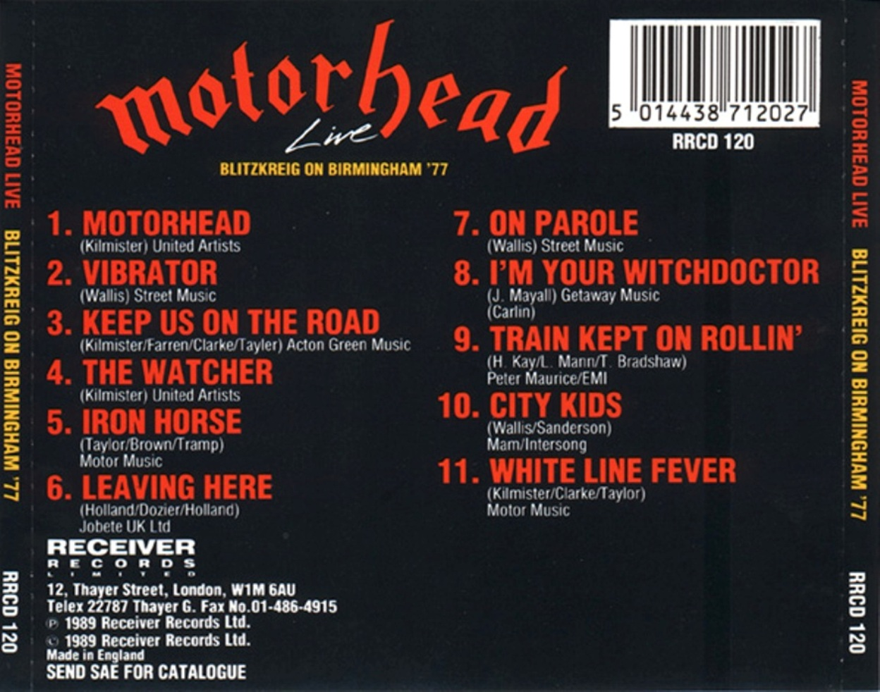 Motörhead (UK) - Live in Birmingham Town Hall (1977) [MP3