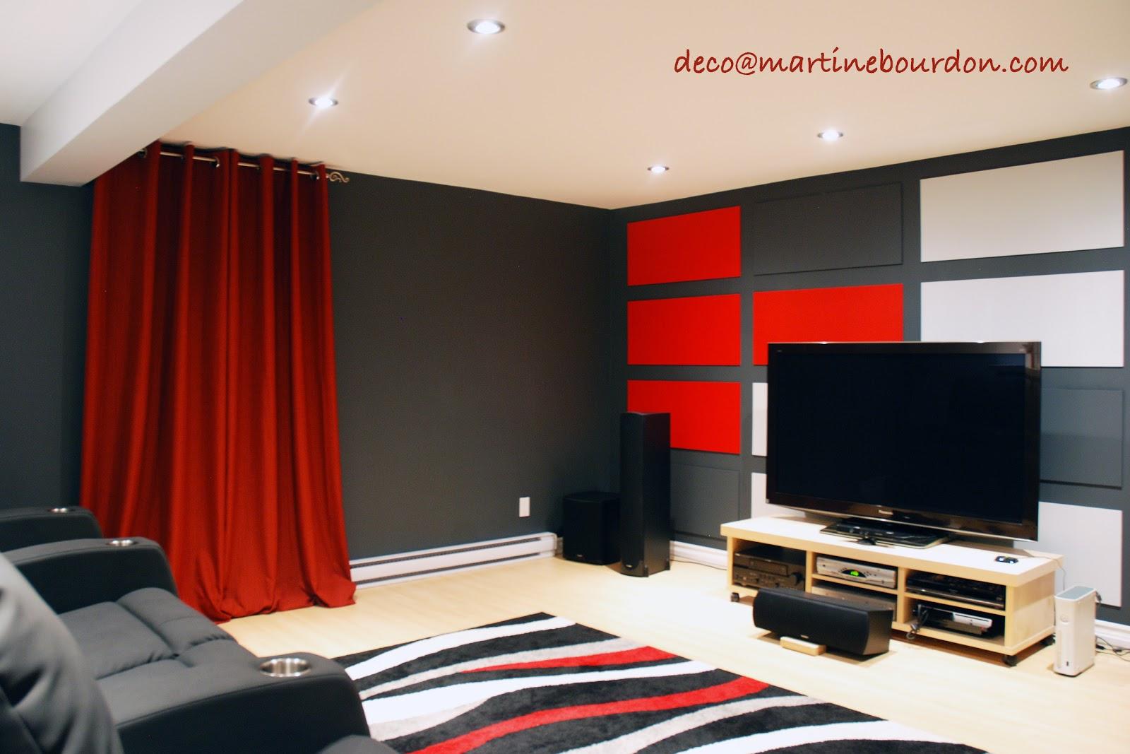 l 39 espace d co gris et rouge pour le cin ma maison. Black Bedroom Furniture Sets. Home Design Ideas