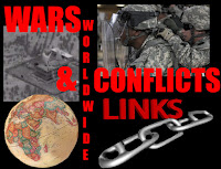 a graphic by Erika Grey of Wars and Worldwide conflicts links, which says war in capital red letters, worldwide goes down the page in front of 3 photos, one of soldiers, another of a building being bombed as seen through an optical screen, a globe of the world and giant silver links of a chain, Conflicts is in capital red letters and links which is written below it is in a darker red capital font.