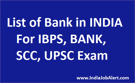List of Bank in INDIA - Important for BANK,SSC and UPSC Exam