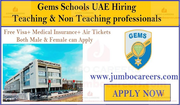 Non teaching staff jobs in UAE with salary, Free visa air ticket jobs in UAE,