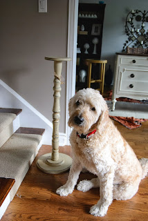 Candlestick Painted With Chalk Finish Paint And Dog