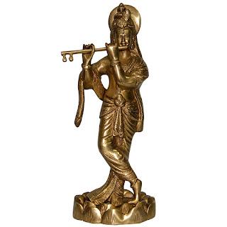 DronaCraft God Krishna Plying Flute Brass Statue