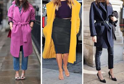 Consultoria de imagem - Drama no guarda roupa #2 | Posso usar casacos compridos e volumosos? Casaco rosa com cinto e jeans por baixo, Casaco amarelo e vestido preto justo por baixo, casaco azul escuro com cinto e calças justas por baixo