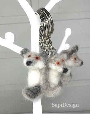 neulahuovutus avaimenperä susi SapiDesign