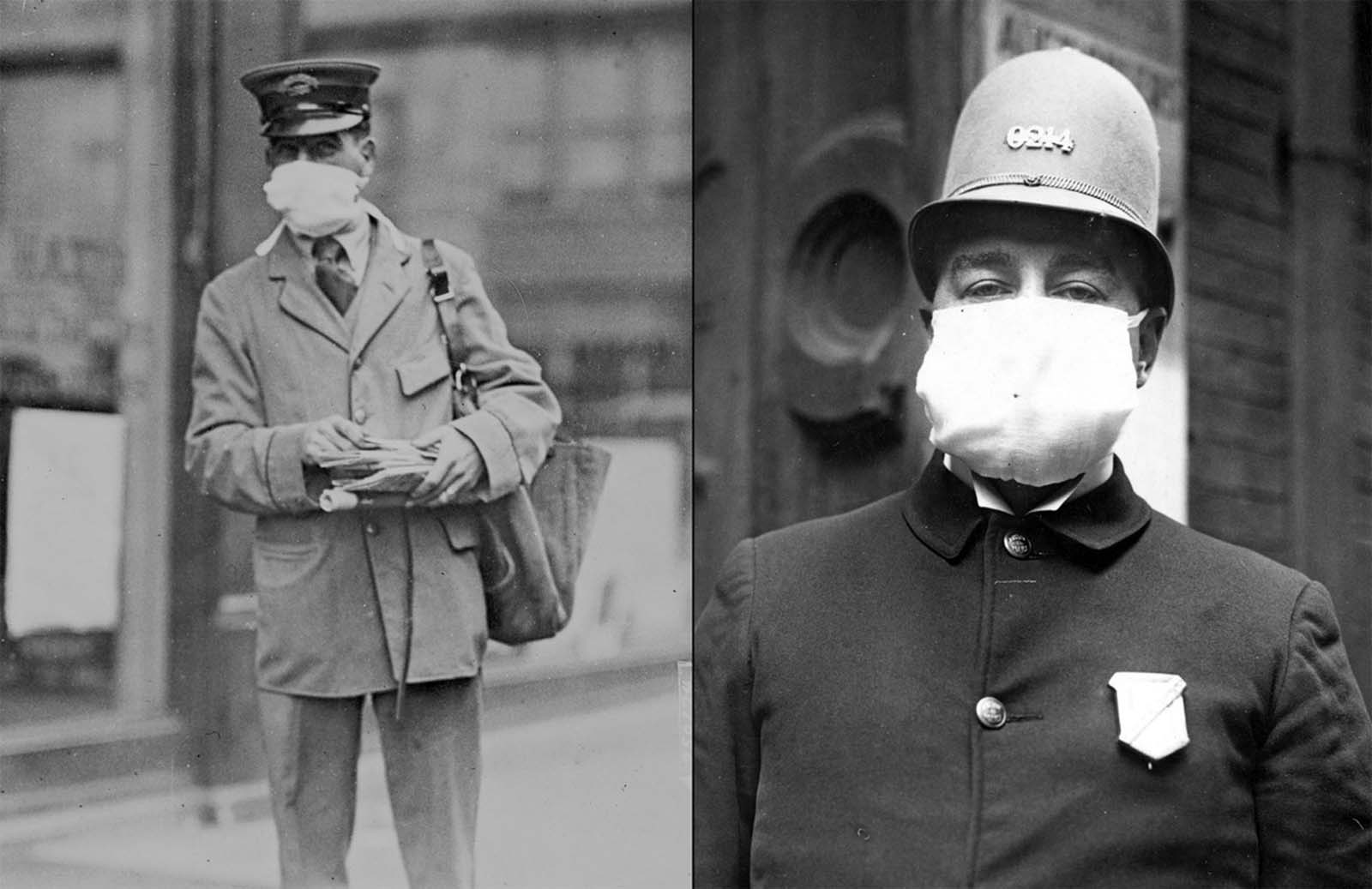 Left: A letter carrier in New York City, October, 1918. Right: Thousands of these masks were distributed by policemen to all police stations, to be used whenever duty called in New York City.