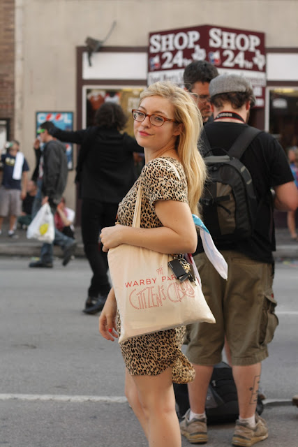 rachel at sxsw wearing a leopard dress and tortoise shell glasses