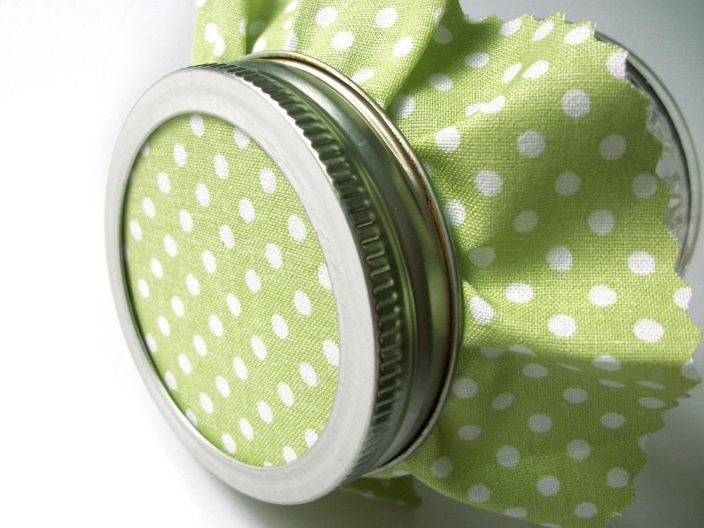Green Polka Dot Jam Jar Covers