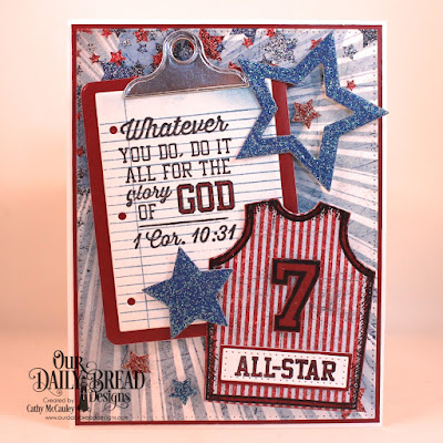 Our Daily Bread Designs Stamp Set: Teamwork, Stamp/Die Duos: All-Star Jersey, Notebook Paper, Paper Collections: Old Glory, Patriotic, Custom Dies: Pierced Rectangles, Sports Jerseys, Clipboard, Sparkling Stars