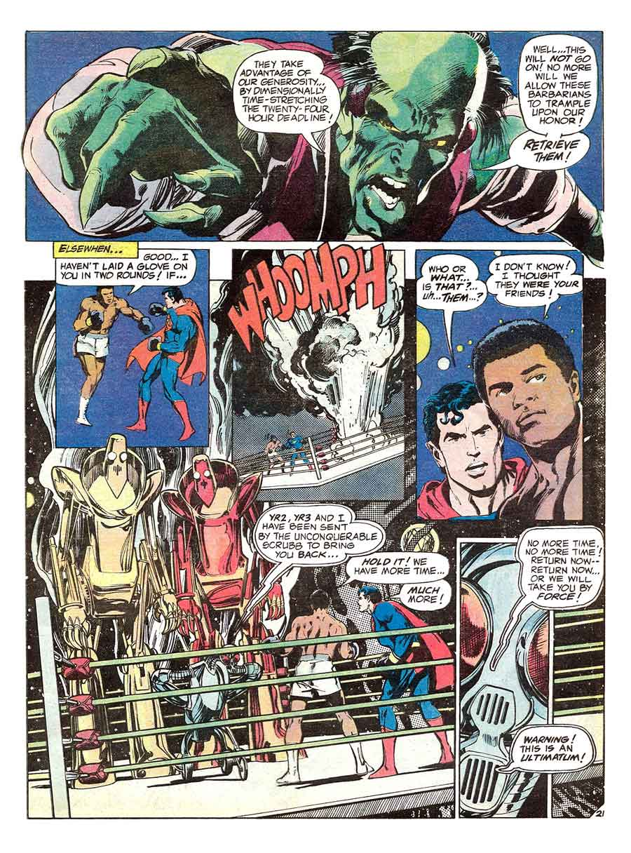 Superman vs. Muhammad Ali dc comic book page art by Neal Adams
