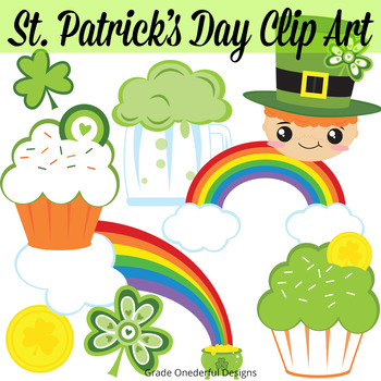 St. Patrick's Day Clip Art. Super cute and perfect for your teacher products or for your classroom. Also includes a free set of monsters.#stpatricksday #stpatricksdayclipart #freeclipart #gradeonederful