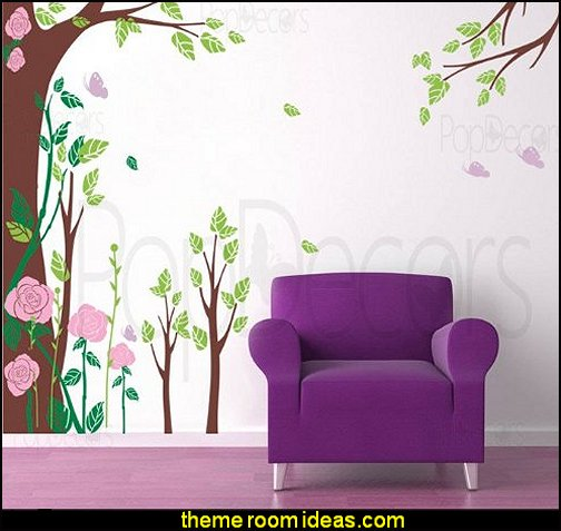 Fantasy Rose Garden Tree Wall Decals for Kids Rooms Teen Girls Boys Wallpaper Murals Sticker Wall Stickers Nursery Decor Nursery Decals