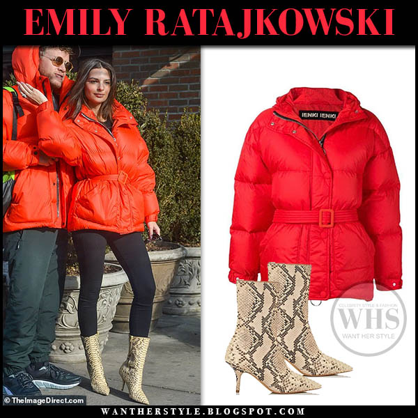 Emily Ratajkowski in red ienki ienki puffer jacket, leggings and snake print yeezy ankle boots model winter style january 25