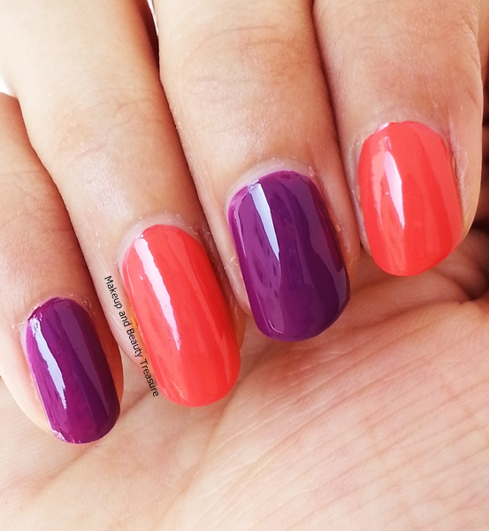 L'Oreal Nail Paints in Violet Vendome & Coral Trianon swatches