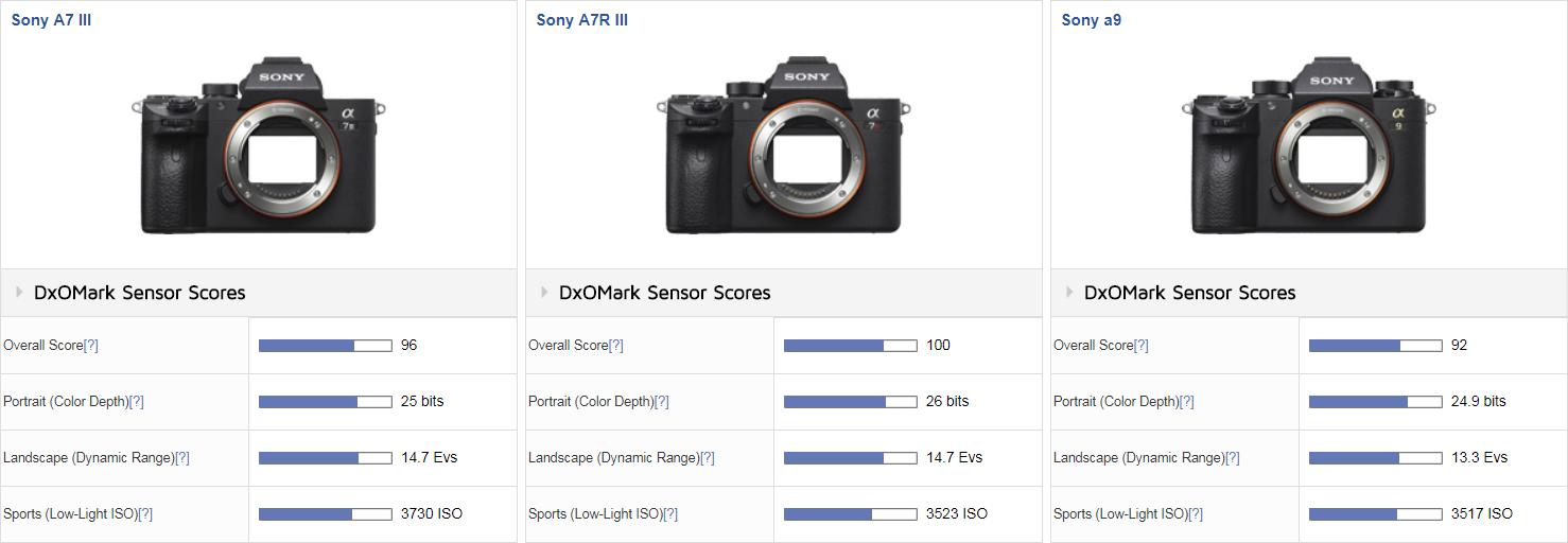 Сравнение баллов Sony A7 III, A7R III и A9 в тесте DxOMark