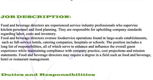 Food And Beverage Manager Job Description !!restaurant