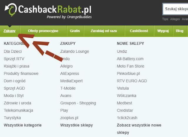 Sklepy na stronie CashBackRabat.