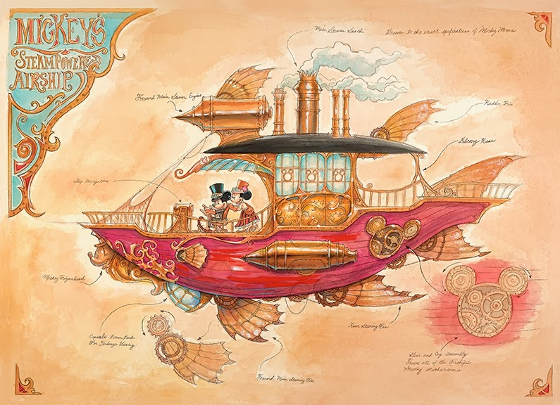 Mickey Mouse Steam Powered steampowered airship Mechanical Kingdom Steampunk Mark Page Walt Disney World Art WDW Prints Disneyland