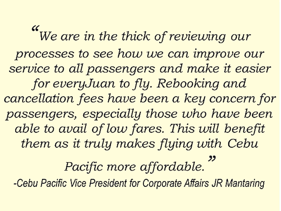 "Cebu Pacific announced in a statement that it started waiving fees for rebooking and flight details changes made within 24 hours of the original booking starting August 1.  Previously, passengers are paying P1,500 for rebooking of domestic flights, P2,300 for short-haul flights and P2,500 for long-haul flights. Penalties were also waived for booking amendments that will require changes to the flight sequence , the airline said.   ""Advertisements"" Meanwhile, Philippine Airlines announced that they are giving 50% discount for their Wi-Fi connection on international flights making their passengers connected even in the mid-air  for cheaper fee. Through the myPALWiFI upgrade plans, PAL passengers can have free wi-fi access (15 MB) for the first 30 minutes and a 50 % off for the entire flight.   The subscription plans starts at USD 5 for 35 MB while the 150 MB plan will cost USD 20.   Sources: Inquirer Canada,Cebu Pacific Air ""Sponsored Links"" Read More:  A female Overseas Filipino Worker (OFW) working in Saudi Arabia was killed by an unknown gunman in Cabatuan, Isabela on Sunday. The OFW is in the country to enjoy her vacation and to celebrate her bithday with her loved ones. The victim's mother, Betty Ordonez, said that Jenny Constantino, 29, arrived in the country from Saudi Arabia for a vacation.         China's plans to hire Filipino household workers to their five major cities including Beijing and Shanghai, was reported at a local newspaper Philippine Star. it could be a big break for the household workers who are trying their luck in finding greener pastures by working overseas  China is offering up to P100,000  a month, or about HK$15,000. The existing minimum allowable wage for a foreign domestic helper in Hong Kong is  around HK$4,310 per month.  Dominador Say, undersecretary of the Department of Labor and Employment (DOLE), said that talks are underway with Chinese embassy officials on this possibility. China's five major cities, including Beijing, Shanghai and Xiamen will soon be the haven for Filipino domestic workers who are seeking higher income.  DOLE is expected to have further negotiations on the launch date with a delegation from China in September.   according to Usec Say, Chinese employers favor Filipino domestic workers for their English proficiency, which allows them to teach their employers' children.    Chinese embassy officials also mentioned that improving ties with the leadership of President Rodrigo Duterte has paved the way for the new policy to materialize.  There is presently a strict work visa system for foreign workers who want to enter mainland China. But according Usec. Say, China is serious about the proposal.   Philippine Labor Secretary Silvestre Bello said an estimated 200,000 Filipino domestic helpers are  presently working illegally in China. With a great demand for skilled domestic workers, Filipino OFWs would have an option to apply using legal processes on their desired higher salary for their sector. Source: ejinsight.com, PhilStar Read More:  The effectivity of the Nationwide Smoking Ban or  E.O. 26 (Providing for the Establishment of Smoke-free Environment in Public and Enclosed Places) started today, July 23, but only a few seems to be aware of it.  President Rodrigo Duterte signed the Executive Order 26 with the citizens health in mind. Presidential Spokesperson Ernesto Abella said the executive order is a milestone where the government prioritize public health protection.    The smoking ban includes smoking in places such as  schools, universities and colleges, playgrounds, restaurants and food preparation areas, basketball courts, stairwells, health centers, clinics, public and private hospitals, hotels, malls, elevators, taxis, buses, public utility jeepneys, ships, tricycles, trains, airplanes, and  gas stations which are prone to combustion. The Department of Health  urges all the establishments to post ""no smoking"" signs in compliance with the new executive order. They also appeal to the public to report any violation against the nationwide ban on smoking in public places.   Read More:          ©2017 THOUGHTSKOTO www.jbsolis.com SEARCH JBSOLIS, TYPE KEYWORDS and TITLE OF ARTICLE at the box below Smoking is only allowed in designated smoking areas to be provided by the owner of the establishment. Smoking in private vehicles parked in public areas is also prohibited. What Do You Need To know About The Nationwide Smoking Ban Violators will be fined P500 to P10,000, depending on their number of offenses, while owners of establishments caught violating the EO will face a fine of P5,000 or imprisonment of not more than 30 days. The Department of Health  urges all the establishments to post ""no smoking"" signs in compliance with the new executive order. They also appeal to the public to report any violation against the nationwide ban on smoking in public places.          ©2017 THOUGHTSKOTO Dominador Say, undersecretary of the Department of Labor and Employment (DOLE), said that talks are underway with Chinese embassy officials on this possibility. China's five major cities, including Beijing, Shanghai and Xiamen will soon be the destination for Filipino domestic workers who are seeking higher income. ©2017 THOUGHTSKOTO www.jbsolis.com SEARCH JBSOLIS, TYPE KEYWORDS and TITLE OF ARTICLE at the box below"