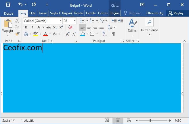 Word belgesinde çalışma sayfasının arka plan rengi nasıl değişir?www.ceofix.com