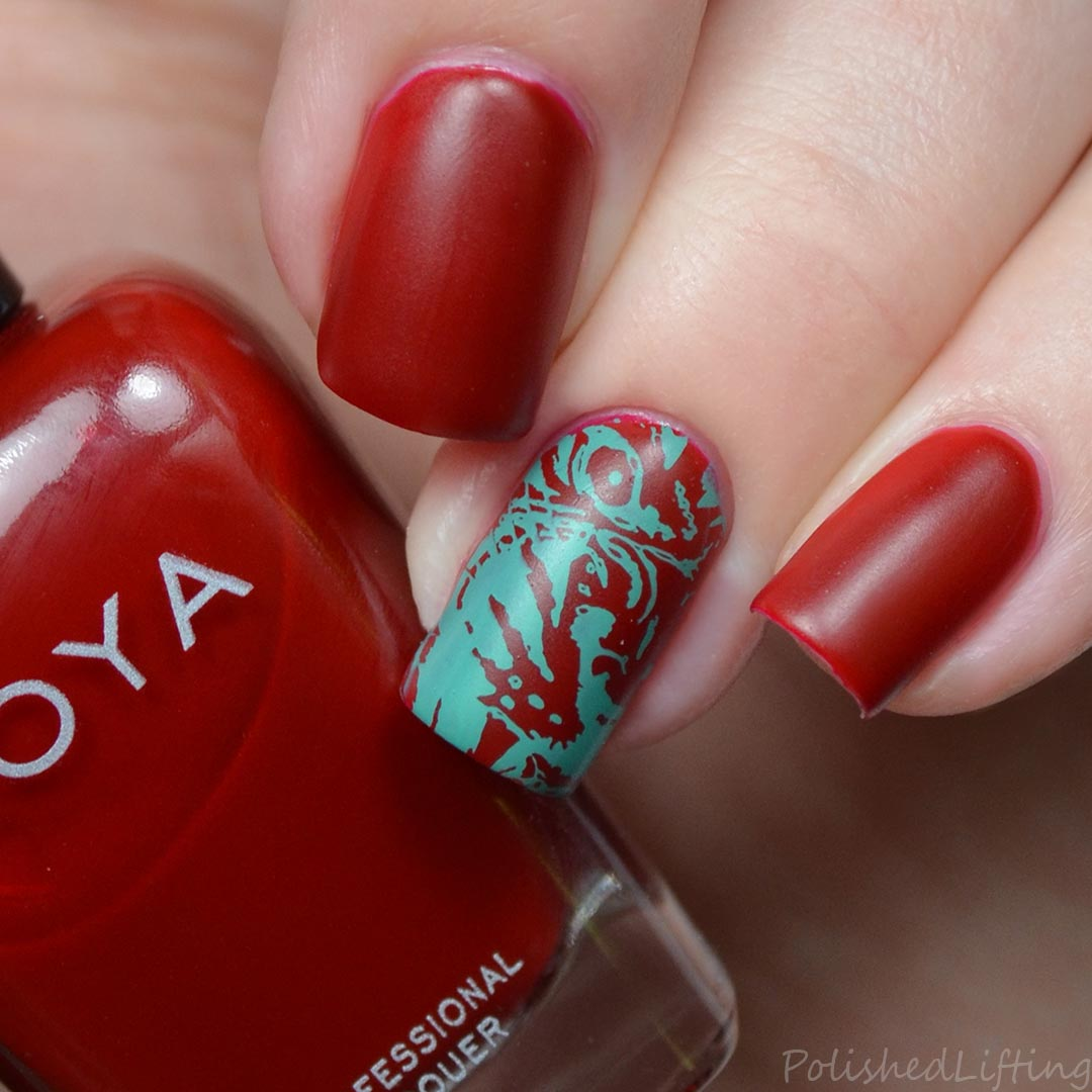 Polished Lifting Teal Tiger Nail Art Feat Born Pretty Store Zoya