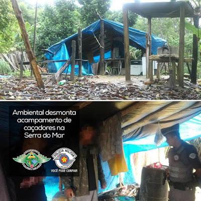 Polícia ambiental localiza  acampamento de caçadores no Parque Estadual da Serra do Mar
