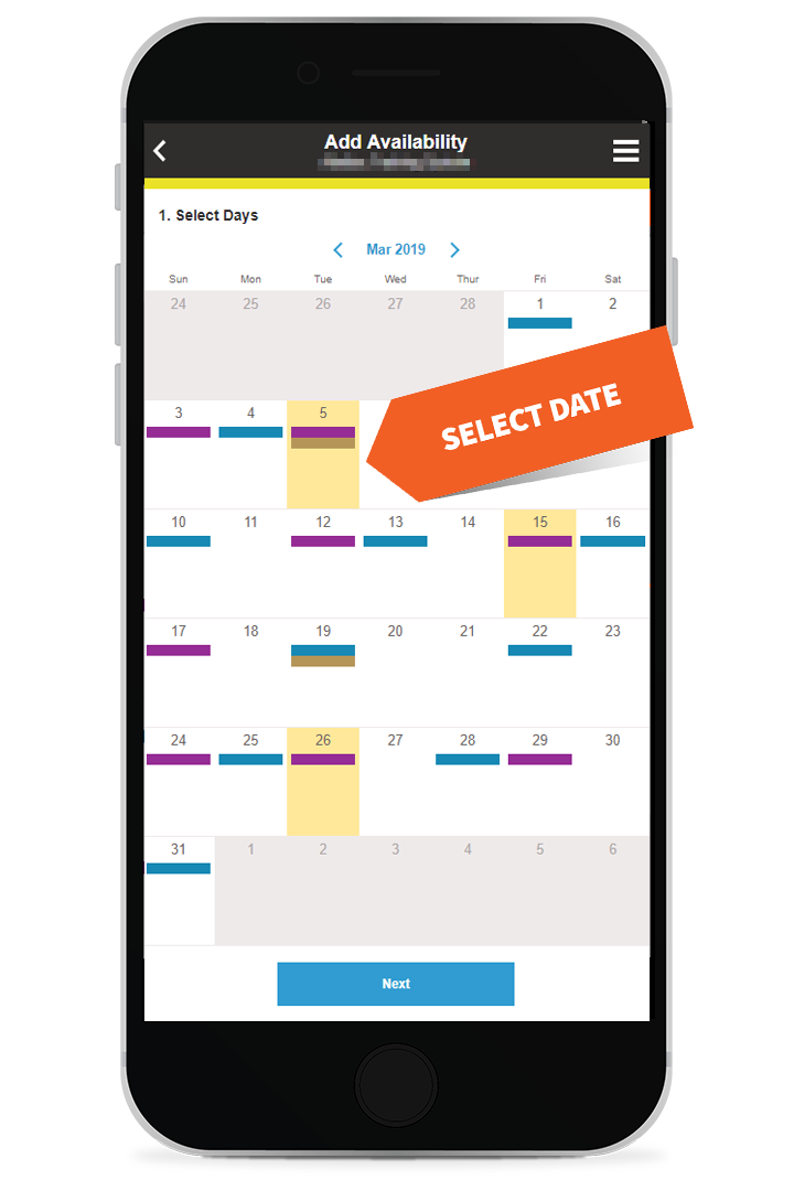 Select multiple dates of availability