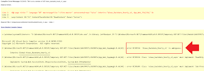 Compilation Error Message BC30456 : Title is Not Member of ASP