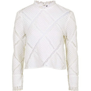 Topshop's pintuk diamond lace blouse