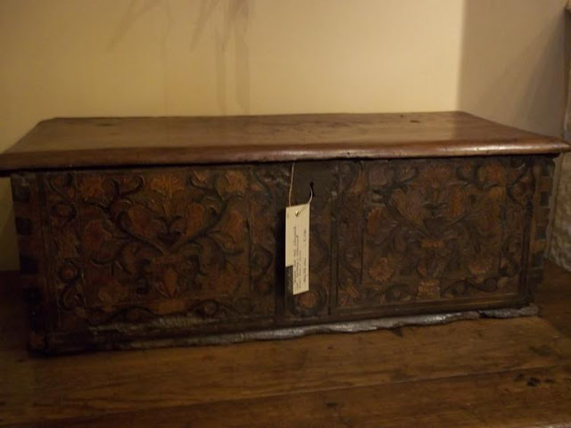 Superb 17th century Spanish coffer with intarsia work via Antiek Amber (be) as seen on linenandlavender.net - http://www.linenandlavender.net/2013/07/source-sharing-more-to-love-from-antiek.html