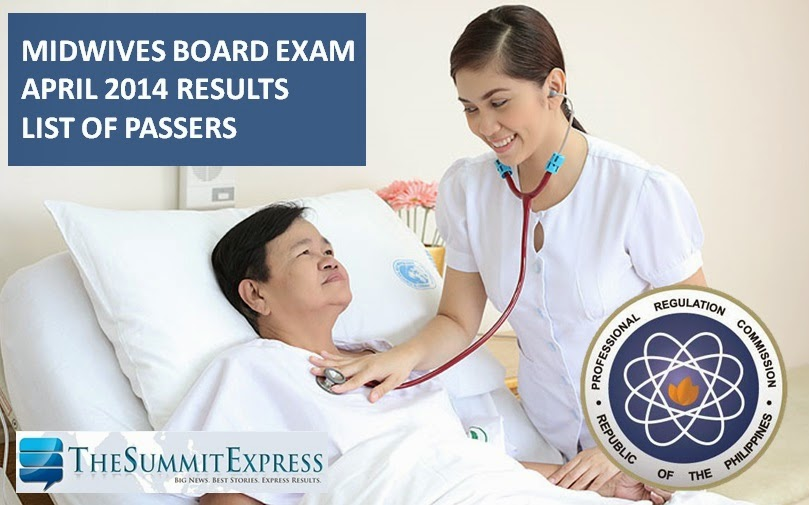 April 2014 Midwives board exam results | List of Passers, Top 10