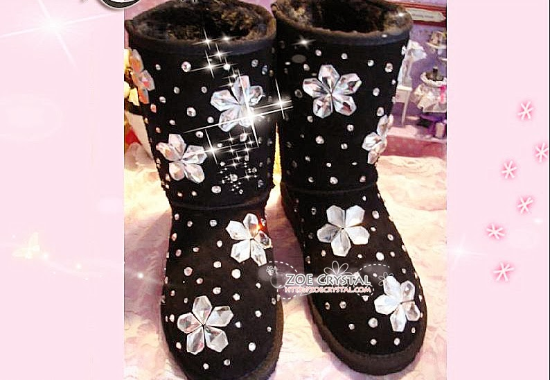2a8df4ab2 WINTER Black Sheepskin UGG Inspired Winter Boots with Flowers made with  Swarovski / Czech elements